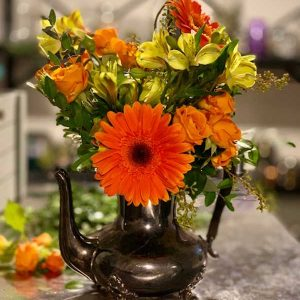 yellow-orange-floral-teapot-west-kelowna-florist